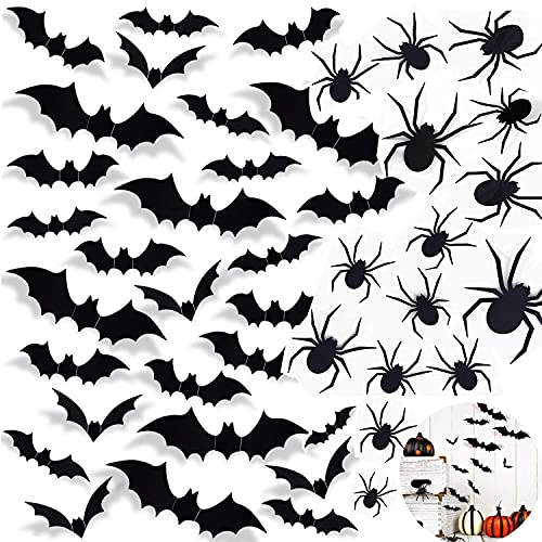 Decoración 3D de Halloween, 120 unidades, decoración para pared, murciélagos y arañas, pegatinas de pared para habitación infantil, aula, dormitorio, fiesta de Halloween