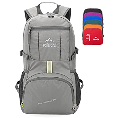 Venture Pal 35L Travel Backpack - Packable Durable Lightweight Hiking Backpack Daypack (Grey)