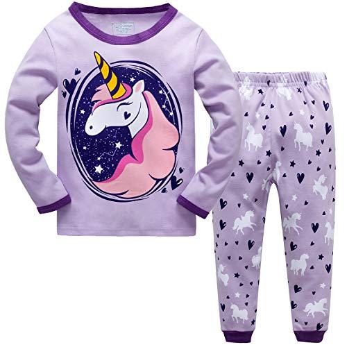 Qzrnly Mädchen Schlafanzug Giraffe Baumwolle Kinder Langarm Pyjama 98 104 110 116 122 128 134 140 146,Lila,6-7 Jahre
