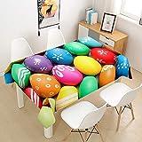 Hiser Huevos de Pascua Mantel para Mesa Rectangular de Impermeable Resistente al Aceite Manteles de Antimanchas para Mesas Comedor Cocina (Huevos de Pascua,140x160cm)
