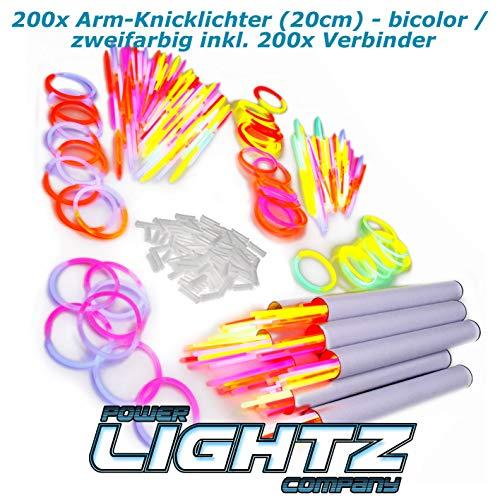 Power Lightz 200 Stück 20 cm Knicklichter / Armbänder im bicolor Mix (zweifarbig) inkl. 200 x 2D-Verbinder für Party, Geburtstag, Disco, Konzert, Festival oder Fasching
