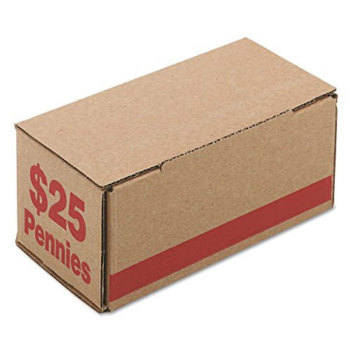 PM Company Corrugated Cardboard Coin Storage with Denomination Printed On Side, Red