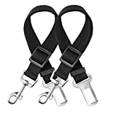 elloLife [2 PACKS Dog Seat Belts for Car, Headrest Restraint Puppy Safety Adjustable Dog Car Seatbelts and Strong Leash Leads Accessories for Dogs Cats Pets, Black