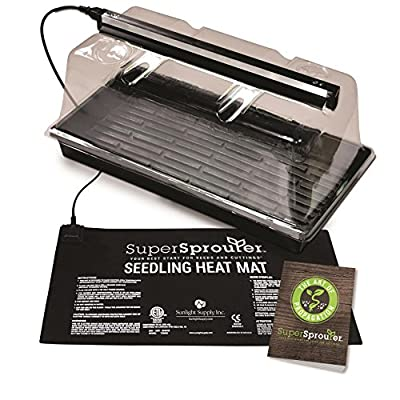 """Super Sprouter HGC726402 Premium Propagation Kit with Heat Mat, 10"""" x 20"""" Tray, 7"""" Dome & T5 Light, 5 Piece, Black/Clear"""