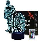 3D ilusión estrella guerra noche luz anime lámpara de mesa con control remoto niños dormitorio decoración, iluminación creativa para niños (R2 D2 Boba Fett)