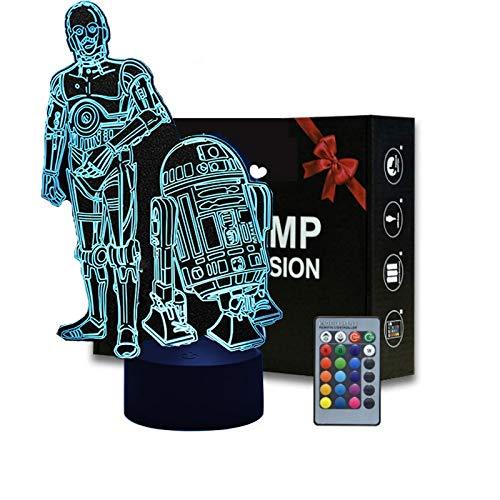 Veilleuse LED 3D Star Wars, 16 veilleuses LED changeantes de couleur avec télécommande et Smart Touch, cadeaux de Noël et d'anniversaire pour les enfants et les fans de Star Wars (R2-D2)