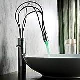 KAIBINY Moderna de Cobre Lavabo de Plata Caliente y frío Grifo de Lavabo de baño en la encimera del Lavabo del Grifo del...