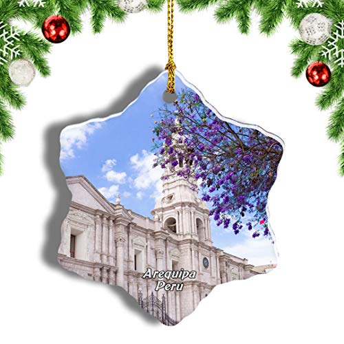 Weekino Plaza de Armas Arequipa Perú Decoración de Navidad Árbol de Navidad Adorno Colgante Ciudad Viaje Porcelana Colección de Recuerdos 3 Pulgadas