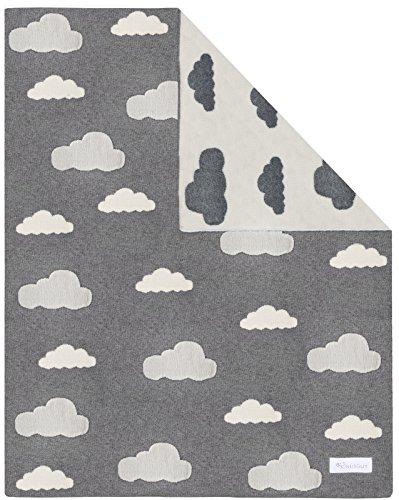Kindsgut Manta para Niños, Manta Suave para Bebes, con nubes, Algodón, 80 x 100 cm, Manta Acogedora para Bebes/Niños pequeños, ecológico y libre de contaminantes
