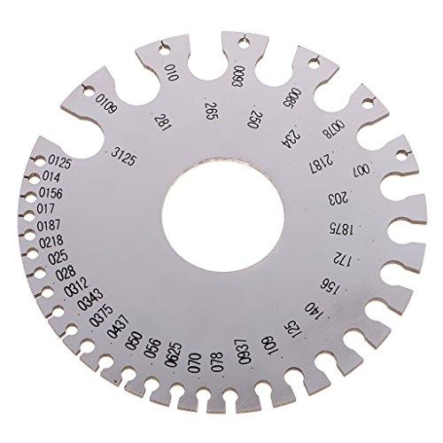 MagiDeal Edelstahl Drahtlehre für SWG (Standard Wire Gauge), zum Messen der Drahtsärke, Stahlplatte
