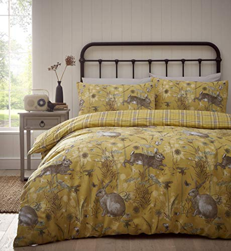 Portfolio Rabbit Meadow Duvet Cover Set Bedding, Ochre Yellow, Super King
