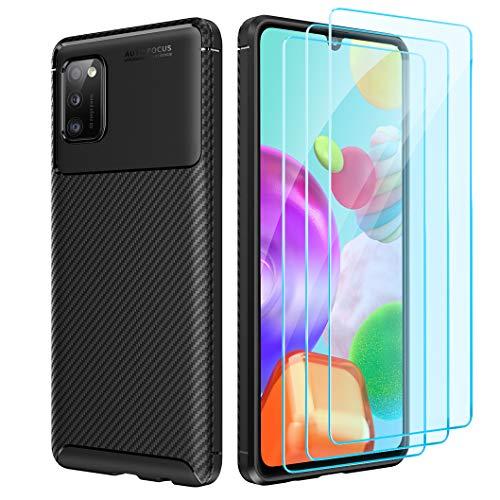 Oududianzi Funda para Samsung Galaxy A31 + [3X Protectore de Pantalla in Cristal Templado], [Textura de Fibra de Carbono] Carcasa de Armadura Resistente Funda de Silicona Suave y Delgada - Negro