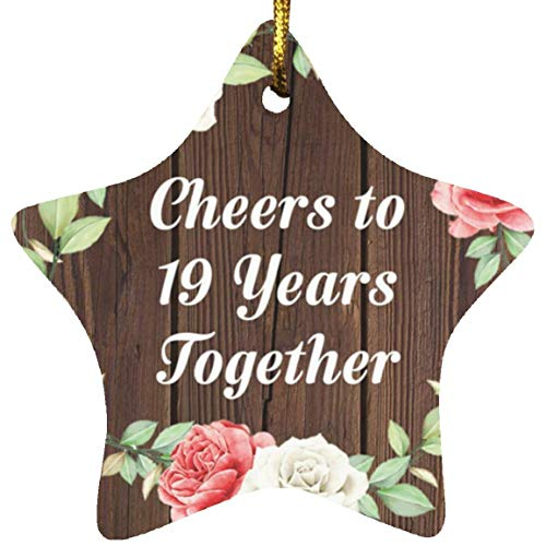19th Anniversary Cheers To 19 Years Together - Star Wood Ornament A Christmas Tree Hanging Decor - for Wife Husband Wo-men Her Him Couple Wedding Birthday Anniversary Mother's Father's Day