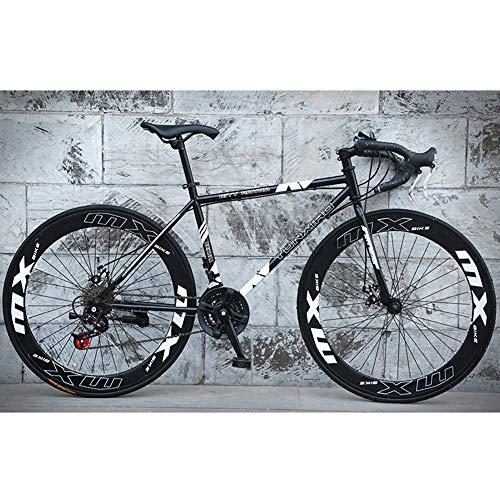 Rennräder, 24-Gang 26-Zoll Fahrräder, Doppelscheibenbremse, Stahlrahmen Mit Hohem Kohlenstoffgehalt, Rennradrennen, Für Männer Und Frauen Erwachsene,Schwarz