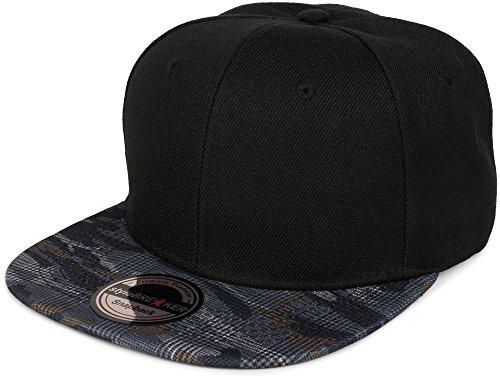 styleBREAKER Snapback Cap mit Camouflage Print am Schild, Baseball Cap, verstellbar, Unisex 04023042, Farbe:Schwarz/Grau-Blau kariert