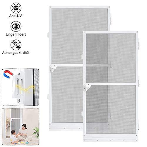 Aufun Fliegengittertür Fliegengitter für Tür Anti-Insekten-Flugschutz-Tür aus Aluminiumlegierung Insektenschutz Wird in Häusern und Fabriken verwendet- weiß