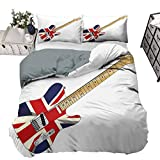 UNOSEKS LANZON - Juego de funda de edredón para guitarra eléctrica clásica, diseño de bandera británica, color marrón claro, plateado, negro, 230 x 230 cm
