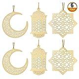 Kulannder 6 Stück Ornament Holz Anhänger,Ornament Eid DIY Dekorationen mit Mond Pendelleuchte...