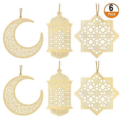 Kulannder 6 Stück Ornament Holz Anhänger,Ornament Eid DIY Dekorationen mit Mond Pendelleuchte Windform Ornament für den muslimischen Islam Eid Al-Fitr oder andere Festivals als Dekoration
