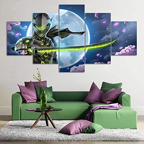 Airxcn Drucke auf Leinwand Home Decor Poster HD-Bilder Drucke Leinwand 5 Stück Modular Overwatch Genji Game Art Decorative PaintingSize3