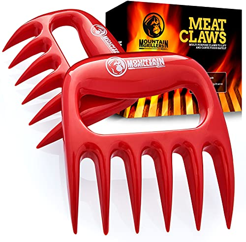 Bear Claws Meat Shredder for BBQ - Perfectly Shredded Meat, These are The Meat Claws You Need - Best Pulled Pork Shredder Claw x 2 for Barbecue, Smoker, Grill (Red)