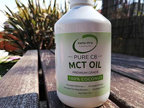 Pure C8 MCT Oil   Minimum of 99.6% Purity   Most Ketogenic MCT   Premium Grade C8 MCT   Highest Purity   Paleo   Vegan   Keto   Gluten Free   Palmfree   Pure Caprylic Acid   500ml White PET Bottle