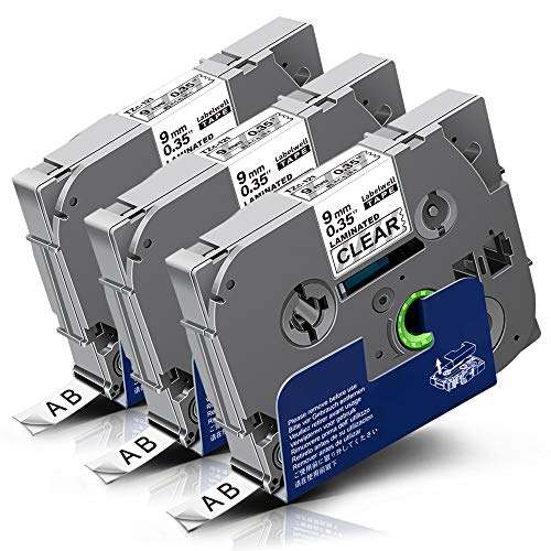 3x Labelwell TZc-121 9mm Schwarz auf Transparent Kompatibel Schriftband Ersatz für Brother Tz Tze-121 Tze121 für Brother P-touch Cube Plus PT-D210VP D600VP D400VP H107B P700 D200DW H105WB H105 H100LB