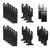 Hojas de sierra oscilantes - Hoja de sierra de liberación rápida de precisión bimetálica multifunción, Hoja de sierra de multiherramienta oscilante para madera y metal, 21 piezas