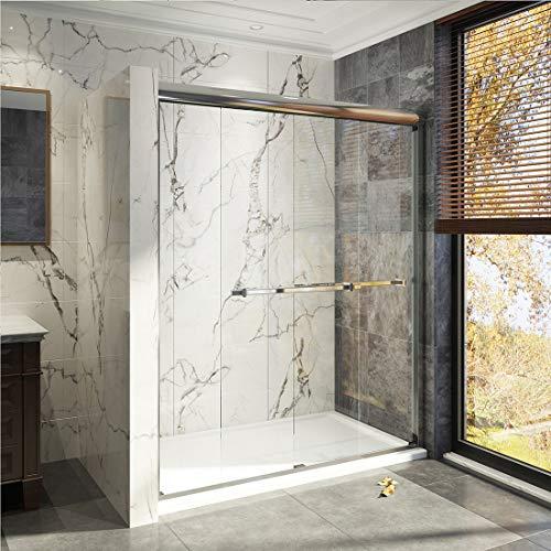 Duschdeluxe 48'x72' Double Sliding Shower Door | 1/4' Clear Tempered Glass Shower Enclosure Sliding Door - Chrome Finish