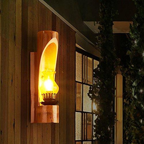 Neilyn Antique Tête De Lit en Bois Lanterne Lampe Américain Chambre en Fer Forgé Unique Tête Lampe Rétro Hôtel Applique Murale Salle Vintage Corridor Porche allée Lampes