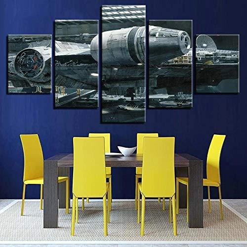 104Tdfc Star Wars Millennium Falcon 5 Pieza Cuadro en Lienzo 150X80CM Impresión 5 Piezas Tejido no Tejido Decoración Hogar Cartel Arte Pared Pintura Regalos
