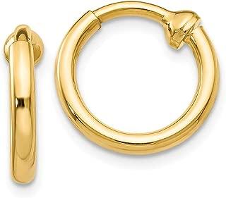 14k Yellow Gold Non Pierced Clip On Hoop Earrings Ear Hoops Set Fine Jewelry Gifts For Women For Her