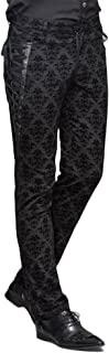 Punk Men Cotton Dress Pants Victorian Printed Bandage Bridal Pants