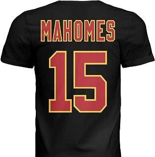 Hall of Fame Sports Memorabilia NWT New Mahomes #15 Kansas City Black Custom Screen Printed Football T-Shirt Jersey No Bra...