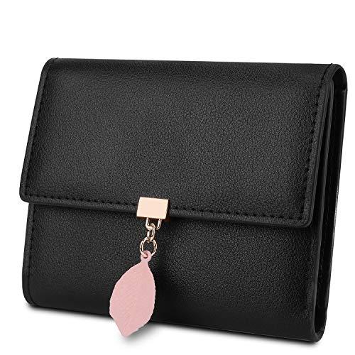 YALUXE Geldbörse Damen Echtleder mit Blatt Anhänger RFID Blocking Kleine Münze Tasche Kartenorganisator Reißverschluss Schwarz
