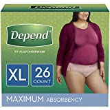 Depend FIT-FLEX Incontinence Underwear for Women, Disposable, Maximum Absorbency, XL, Blush, 26 Count (Packaging May Vary)