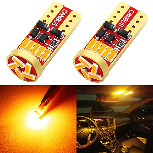 Phinlion 194 LED Amber Yellow Bulb Super Bright Wedge 168 2825 2827 T10 15-SMD 4014 Chipsets LED Replacement Bulbs for Car License Plate Dome Map Reading Courtesy Side Marker Lights