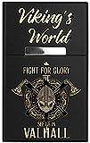 Leichtes Zigarettenetui aus Aluminium mit Magnetverschluss - für 20 Standard-Zigaretten - mit hochwertigem farbigen Aufdruck - Vikings World - Fight for Glory