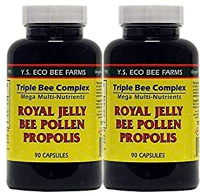YS Organics Triple Bee Complex, Royal Jelly, Bee Pollen, Propolis -90 Caps -2 Pack