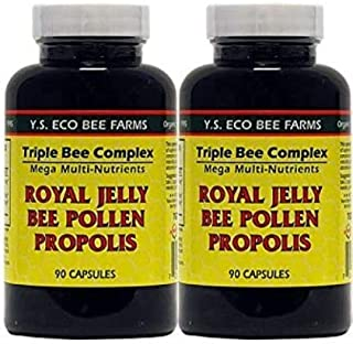 YS Organics Triple Bee Complex, Royal Jelly, Bee Pollen, Propolis -90 Caps -2 Pack