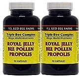 YS Organics Triple Bee Complex, Jalea Real, Polen de Abeja, Propolis -90 Caps -2 Pack