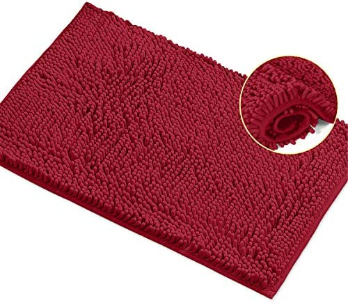 LuxUrux Bath Mat Extra Soft Plush Bath Shower Bathroom Rug 1 Chenille Microfiber Material Super product image