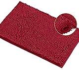 LuxUrux Bath Mat-Extra-Soft Plush Bath Shower Bathroom Rug,1'' Chenille Microfiber Material, Super Absorbent Shaggy Bath Rug. Machine Wash & Dry (15 x 23, Maroon-red)
