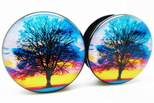 Pierced Republic Sunset Tree of Life Ear Plugs - Screw-On - 10 Sizes - Pair - Gauges (5/8' (16mm))