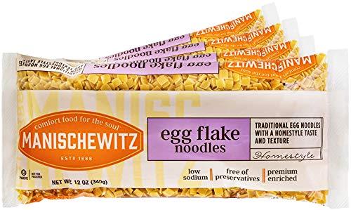 Manischewitz Egg Flakes Premium Enriched Egg Noodles 12oz (Pack of 4) Square Shaped Farfel