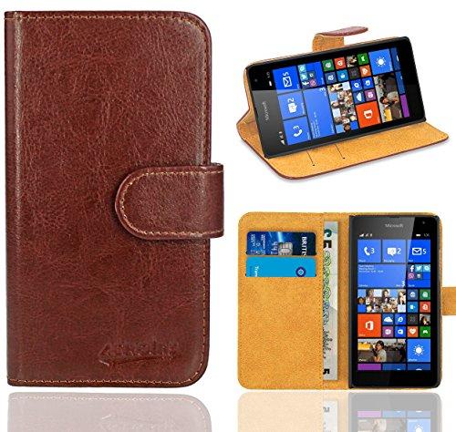 Microsoft Lumia 535 Handy Tasche, FoneExpert® Wallet Hülle Flip Cover Hüllen Etui Ledertasche Lederhülle Premium Schutzhülle für Microsoft Lumia 535 (Wallet Braun)