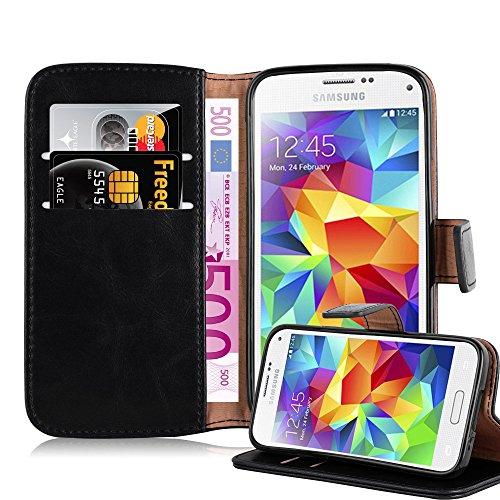 Cadorabo Hülle für Samsung Galaxy S5 Mini / S5 Mini DUOS in Graphit SCHWARZ – Handyhülle mit Magnetverschluss, Standfunktion & Kartenfach – Hülle Cover Schutzhülle Etui Tasche Book Klapp Style
