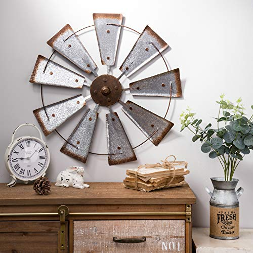 Glitzhome 22' Farmhouse Galvanized Windmill Wall Sculpture Home Decor Rustic Metal Rustic Wall Art Decoration, Silver