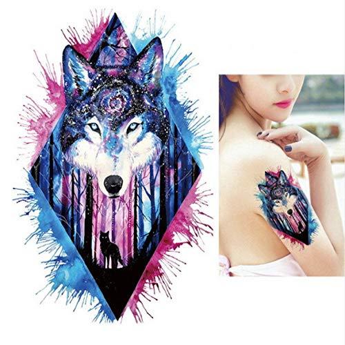 adgkitb Juego de 3 Piezas de Hoja y pequeño Tatuaje de Rugido de león Tatuaje de Cabeza de león Animal Body Art Tattoo Cicatrices Pegatinas de Tatuaje de Halloween TH203 21x15cm