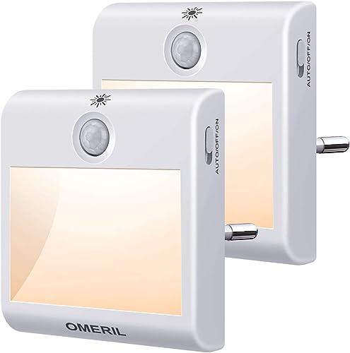 Luz Nocturna con Sensor de Movimiento, OMERIL 2 Pack Luz Nocturna Infantil Enchufe con 3 Modos (AUTO/ON/OFF), Brillo ...